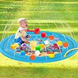 XUDA Water Spray Pad Water Play Sprinkle and Splash Play Mat Pad,Blue Inflatable Sprinkler Pad, Summer Outdoor Spray Toys For Children/Boys/Girls/Kids/Dog/Cat and Pets