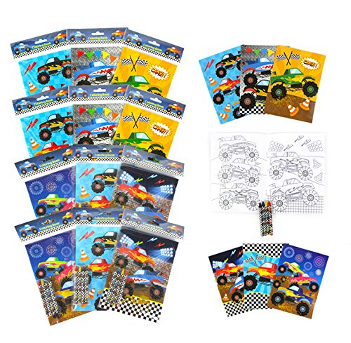 TINYMILLS Monster Truck Coloring Book Set with 12 Coloring Books and 48 Crayons Monster Truck Birthday Party Supplies Favor Bag Filler Carnival Prizes Rewards Stocking Stuffers Classroom Party