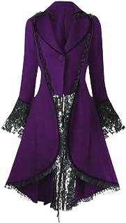 Heberry Women Vintage Steampunk Long Coat Gothic Overcoat Ladies Retro Jacket