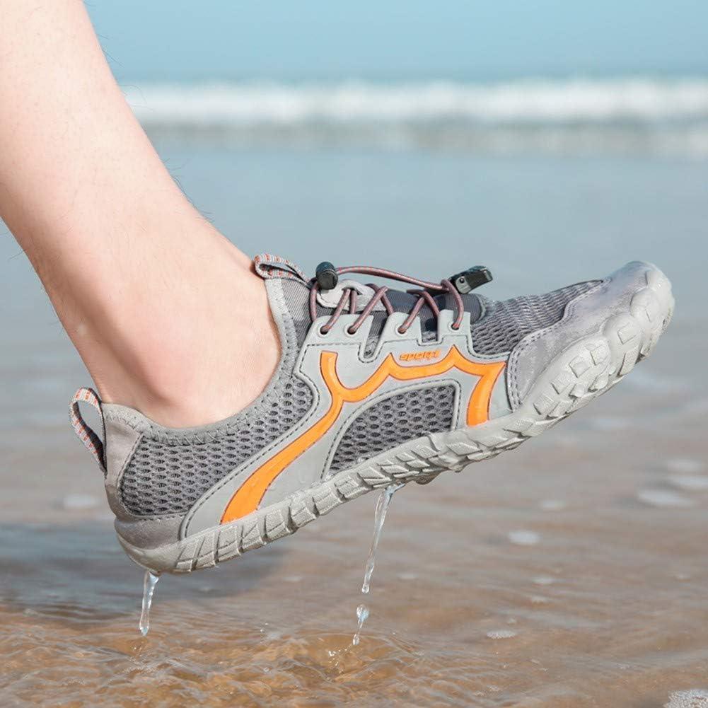 APWIN Water Shoes Men Women Aqua Shoes Beach Barefoot Shoes Quick Dry Swim Shoes Anti-Skid Outdoor Hiking Water Shoes for Surf Diving Hiking Climbing Fishing Diving Surfing Jogging45-Gray