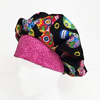 Bouffant Scrub Hat Sweet Sugar Skulls