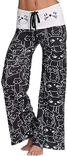Mid Waist Cat Print Wide Leg Long Yoga Legging Pants w/Micro-Elastic Drawstring