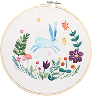 Home,Garden,Home Diy,Full Range Of Embroidery Cross Stitch Stamped Embroidery Cloth With Floral Kit European Embroidery Diy Material Package 20cm Diameter Running Rabbit