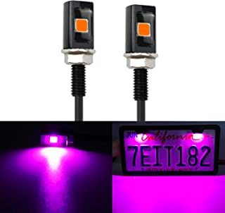 LivTee Super Bright 12V Waterproof Tag Screw Bolt License Plate LED Lights Holder Legal for Car Motorcycle Truck RV ATV Bike, Purper