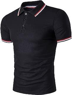 Men's Fashion Stripe Collar Pure Color Short Sleeve Polo T Shirt