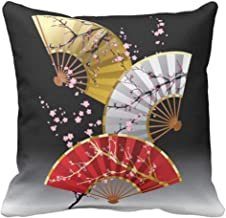 Throw Pillow Cover Pink Artistic Japanese Cherry Asian Decorative Pillow Case Home Decor Square 18 x 18 Inch Pillowcase