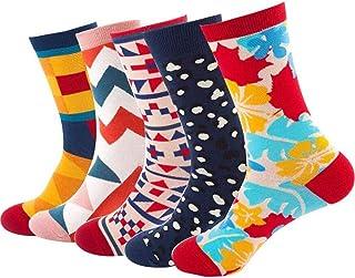 5 Pares Calcetines Estampados Colores Hombres Mujeres, Divertidos Patrones Calcetines Termicos Invierno Divertidos Calcetín de Algodón Unisex Adulto