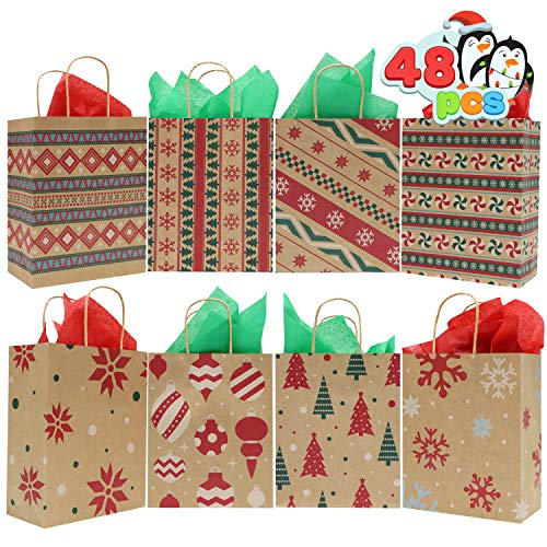48 Christmas Kraft Goody Gift Paper Bags with Handles Assorted Christmas Characters for Xmas Party Favors, Holidays Giving Goodie Bags