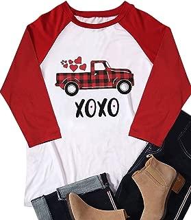 XOXO Heart Plaid Truck Valentine's Day Cute T Shit Women's Graphic 3/4 Raglan Baseball Tops Tees