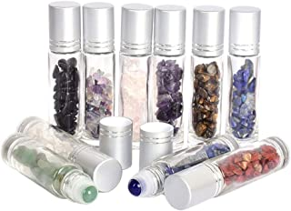 Gemstone Roller Bottles With Healing Crystal Chips,10ml 10 Pcs Essential Oil Roller Bottles Clear Glass Roll On Bottles Wi...