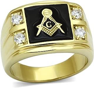 Stainless Steel Gold-Tone Round Shape Cubic Zirconia Freemason Men Ring Size 8-13 SPJ