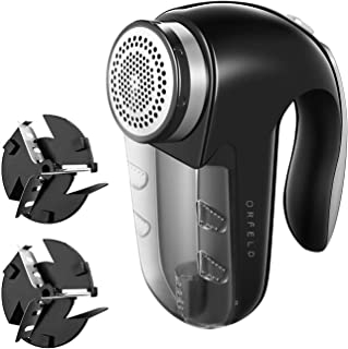 Orfeld Fabric Shaver, Lint Remover with Two Replaceable Blades & Removable bin, Best Lint Shaver for Cloths, Fabrics and Furniture, use with Batteries or Power Adapter, Black