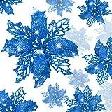 24 Piezas Flores Poinsettia Brillante de Navidad Flores Navideñas Artificiales Adornos de Año Nuevo �rbol de Navidad Boda (Azul)
