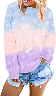 Pullover Sweatshirts for Women Tie Dye Long Sleeve Crewneck Shirts Tops