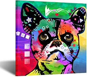 Kreative Arts Funny Dog Art Prints Colorful Pet Canvas Wall Art Framed Abstract Animal Canvas Print Giclee Print Gallery Wrap Modern Home Decor Ready to Hang for Kids Room Decor 24x24inch