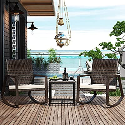 Amolife 3 Pieces Patio Rocking Chair Bistro Set,Modern Outdoor Furniture Porch Chairs Conversation Sets with Glass Coffee Table,Thickened Cushion