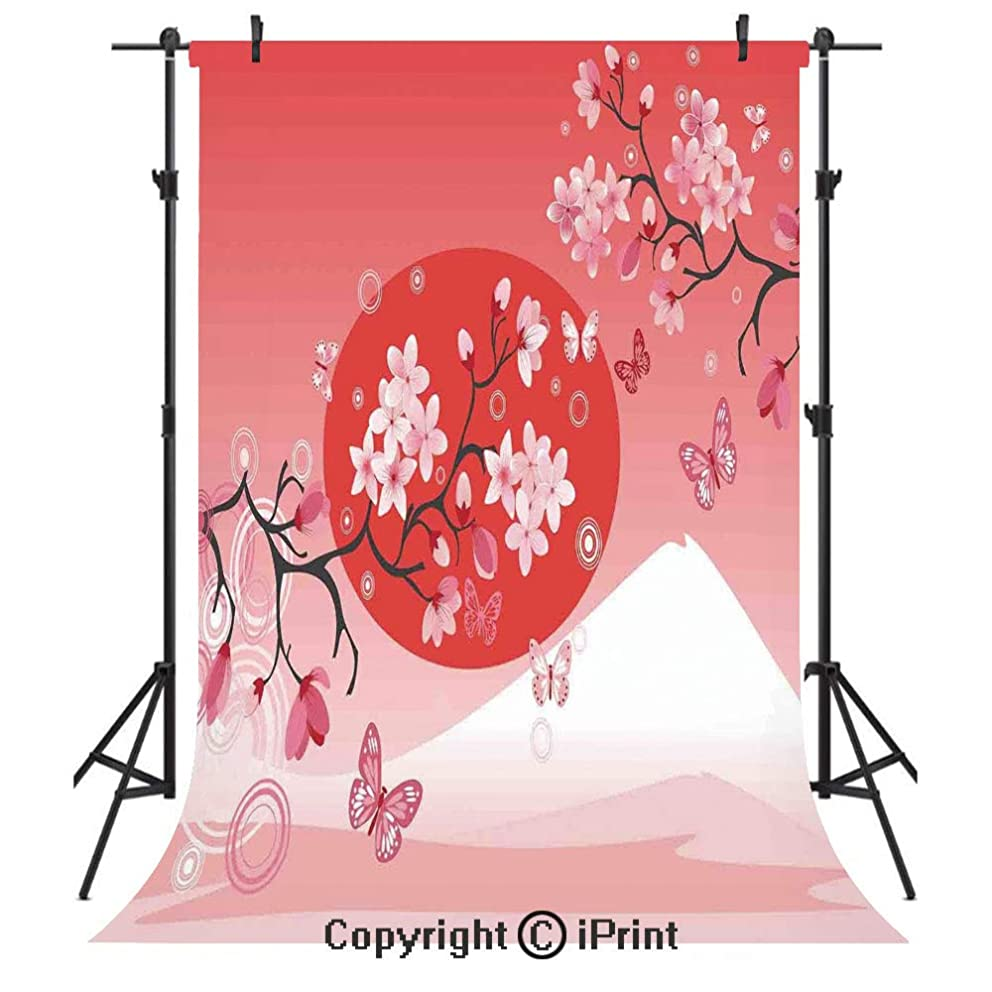 Asian Decor Photography Backdrops,Japanese Cherry Branches over the Sun with the Mountain Reflection Fuji Season Asian Image,Birthday Party Seamless Photo Studio Booth Background Banner 3x5ft,Red Pink