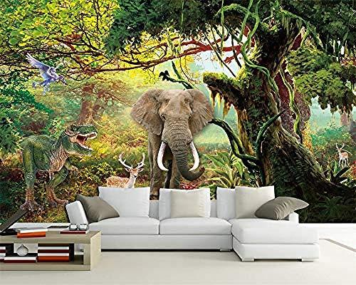 XHXI Murales de pared Personalizar cualquier tamaño Papel tapiz 3D Paisaje y animales Dinosaurios y elefantes Pared Pintado Papel tapiz Decoración dormitorio Fotomural sala sofá mural-300cm×210cm
