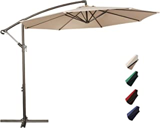 Project One 10ft Patio Offset Cantilever Umbrella Market Umbrellas Outdoor Umbrella with Crank & Cross Base for Garden, Deck,Backyard and Pool (Beige)