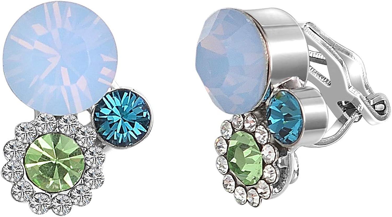 Yoursfs Clip On Earrings Women's Austrian Crystal Victorian Style 18K Gold Plated Wedding Dangle Non Pierced Earrings