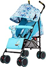 Ligero Carrito de bebé Silla de paseo Desde el nacimiento hasta los 15 kg. con Posición de mentira Cuatro ruedas Pequeño plegable Cochecito de bebé con Rueda Sólida EVC Sólo 5.7kg (Azul)