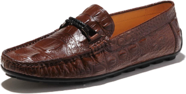 HAPPYSHOP Fake Crocodile Men's Genuine Leather Moccasin Comfort Slip-on Driving shoes Loafers Black