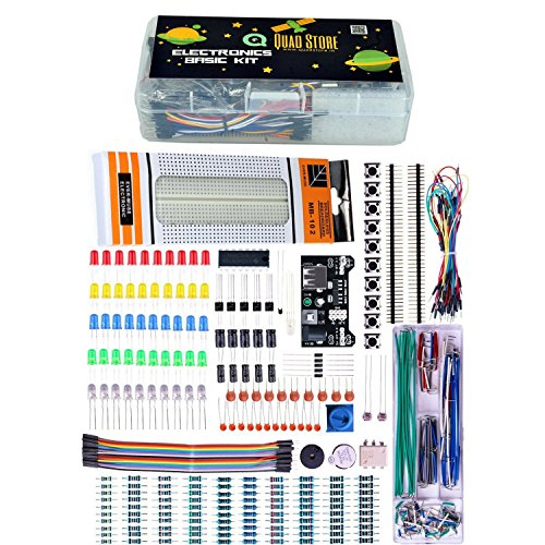 Quad Store(TM) - Basic Electronics Kit for Arduino, Raspberry Pi with breadboard, capacitor, resistor, led, switch