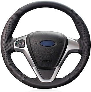 OPOPDLSA Coprivolante per auto avvolgente in pelle artificiale nera per Ford Focus ST-Line 2018-2019 Focus ST 2019-2020 Fiesta ST