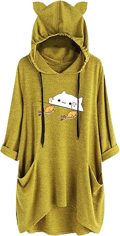 ZDFER Women's Ear Hat Hoodie Cute Hoodies Printed Charlotte Mall Mid Sweatshirt Special price