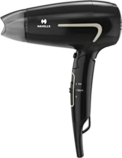 Havells HD3181 1600 Watts Unisex Foldable Hair Dryer, 2 Heat (Hot/Warm) Settings with Cool Shot Button-Black