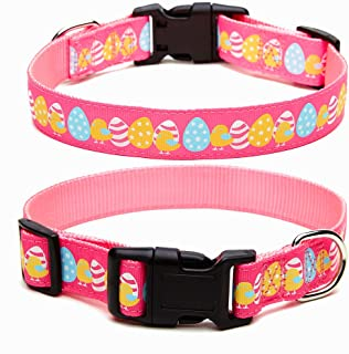 Yunneihe Easter Dog Collar - Adjustable Nylon Day Dog Collars - Soft & Heavy Duty with Easter Egg Design Happy Easter Bunny Pattern - Perfect for Small Medium Large Dogs
