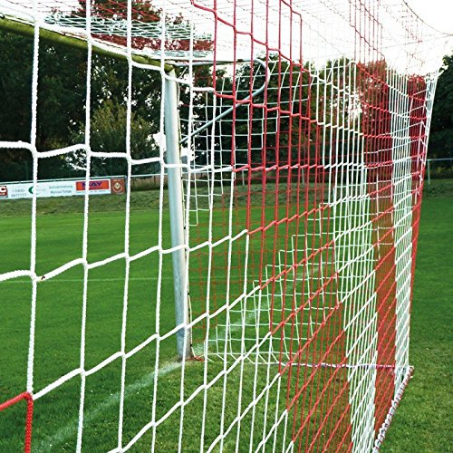 DONET Jugend - Fußballtornetz 5,15 x 2,05 m Tiefe Oben 1,00 / unten 1,00 m, zweifarbig, PP 4 mm ø, rot/weiß