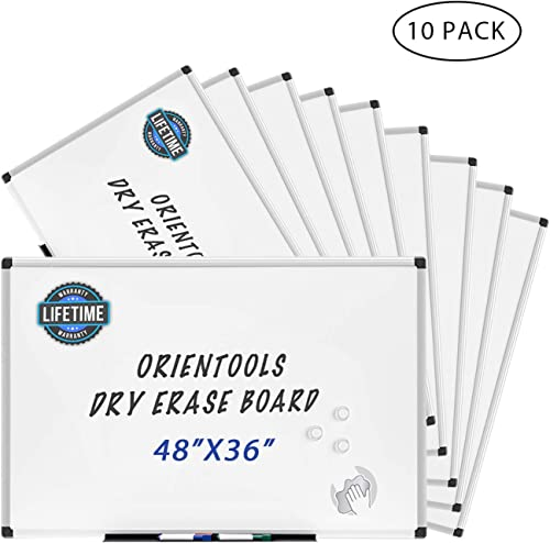 lowest Case of 10, new arrival ORIENTOOLS Magnetic Dry Erase Board/Whiteboard with Silver Aluminum Frame, Wall Mounted White Board for Office, Home 2021 & School (48 X 36 Inches) online