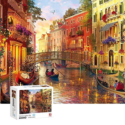 ENYACOS Puzzle 1000 Teile Venice Landschaft,Geschicklichkeitsspiel für die ganze Familie, Klassische Puzzles 1000 Teile,Farbenfrohes Puzzle für Erwachsene und Kinder ab 14 Jahren. (A1)
