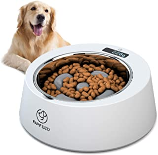 PAPIFEED Slow Feed Dog Bowl, Multifunctional Digital Scale Pet Feeder, Accurate Smart Weighing Stainless Steel Dog Bowls, Non Slip Interactive Slow Feeder for Small Medium Dogs Cats