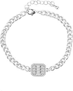 Bcrown 14K الذهب مطلي سلسلة رابط سوار مكعب زركونيا فو الماس أساور قابل للتعديل للنساء الرجال