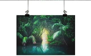 Littletonhome Jungle Abstract Painting Tropical Lake Mangrove Rainforest Pathway Through Lush Sri Lanka Travel Destination Natural Art 47