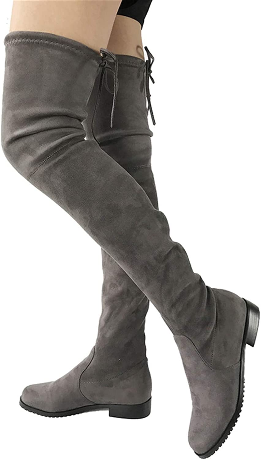 Leroyca Thigh High Flat Boots Women Over The Knee Boots Comfort Fall Winter Faux Suede Boots Fashion shoes Woman