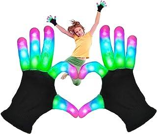 BROADREAM LED Light Up Gloves, Flashing LED Gloves 3 Colors 6 Modes Finger Light Gloves Rave Glow Gloves Teens Kids Light ...