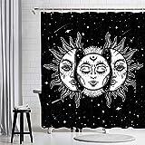 JAWO Sonne & Mond Duschvorhang, Hippie Sonne Mystic Tarotkarte Psychedelic Celestial, Polyestergewebe Badezimmer Gardinen Wasserdicht Badezimmer Liner Set & 12 Stück Haken 175,3 x 177,8 cm