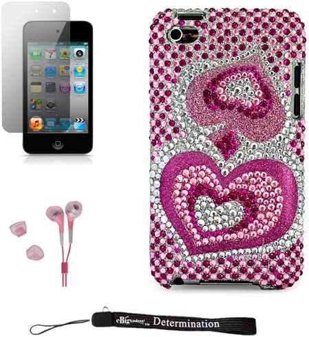 eBigValue Pink Hearts Luxury Design Premium Crystal Shiny Rhinestone Carrying Cover Protective product image