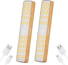 Auxmir Kastverlichting LED Sensorlamp, USB Oplaadbare Kastverlichting met Bewegingsmelder, Onderkastverlichting met 4 Magn...