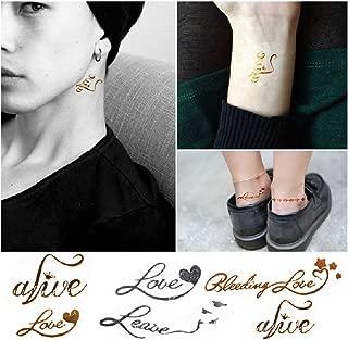 Kylin Express 4 Sheets Waterproof Temporary Tattoos Metallic Body Art Tattoo Sticker, Letters