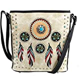 Justin West Tribal Dream Catcher Feather Embroidered Studded CCW Concealed Carry Shoulder Cross Body Handbag Wallet (Beige Messenger Bag ONLY)