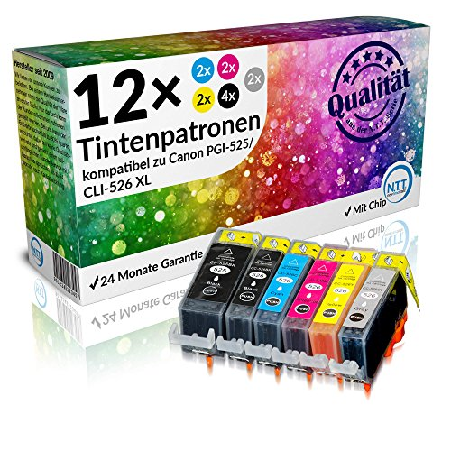 N.T.T.® 12 x STÜCK MIT CHIP 100% Qualität Druckerpatronen Tintenpatronen