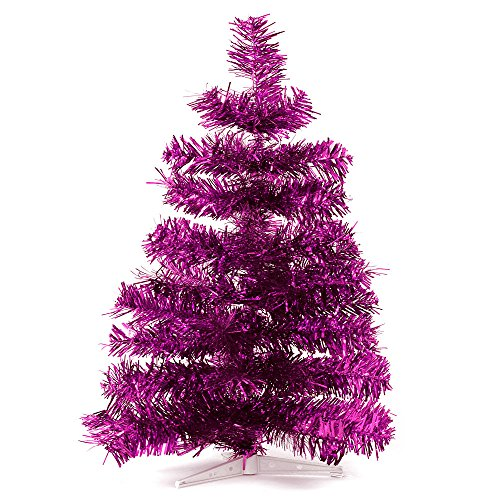 HAB & GUT -XM142- Albero di Natale Artificiale/Abete colorato Fucsia Metallizzato - Altezza: 60 cm