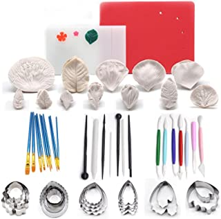 AK ART KITCHENWARE 12sets Silicone Veining Mold 5sets Petal Steel Cutters 1 Veining Board 1 Foam Pad 10 Brushes 3 Frilling Sticks 4 Cake Carved Pens 8 Modelling Tool