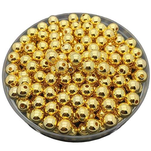 JaneDream Perlen für Schmuckherstellung, rund, lose, gold- oder silberfarben, ideal für Halskette, Armband, Ohrringe, 50Stück, 6mm (Gold)