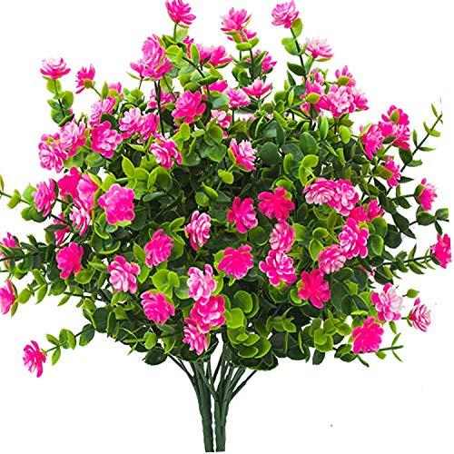 Ksnnrsng Künstliche Blumen,4 Stück Kunstblumen Grün UV-beständige Pflanzen Sträucher Unechte Blumen Innen Draussen für Zuhause Garten Braut Hochzeit Party Dekor (Rosa)