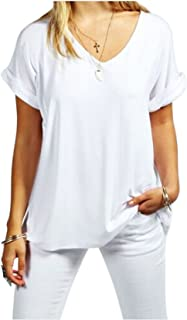Women Solid Comfy Loose Fit Roll Over Short Sleeve V Neck Lightweight Top Tee